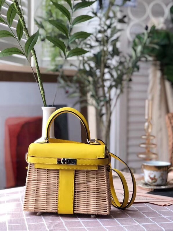 Hermes kelly picnic bag 9810 yellow