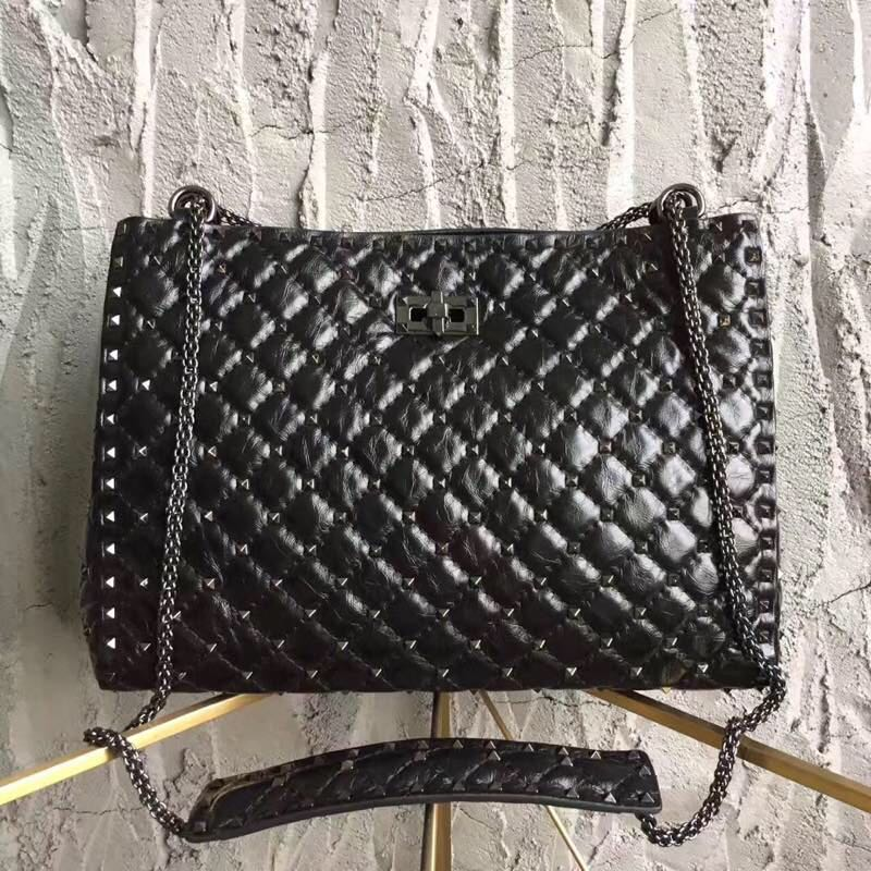 Valentino Starry Series Shopping Bag Original Leather 0346 Black