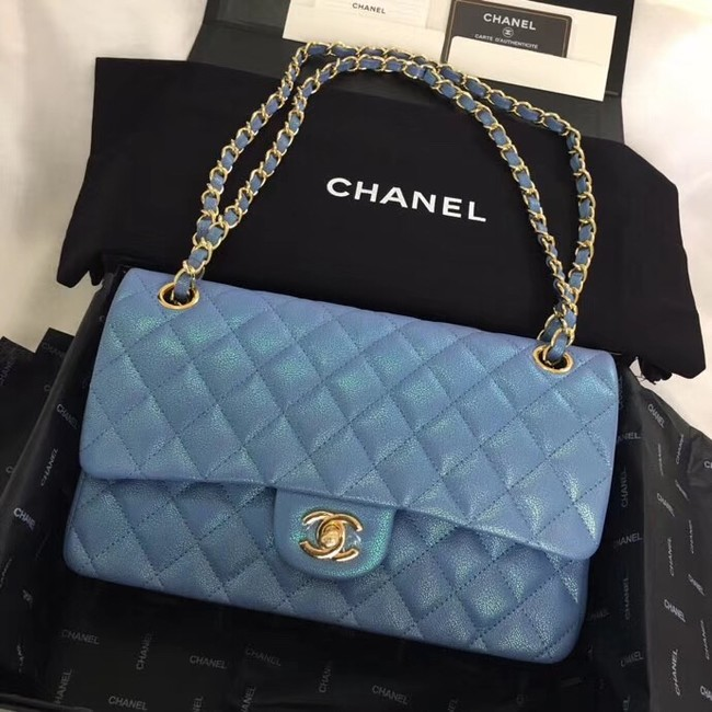 Chanel Calfskin & Gold-Tone Metal A01112 blue