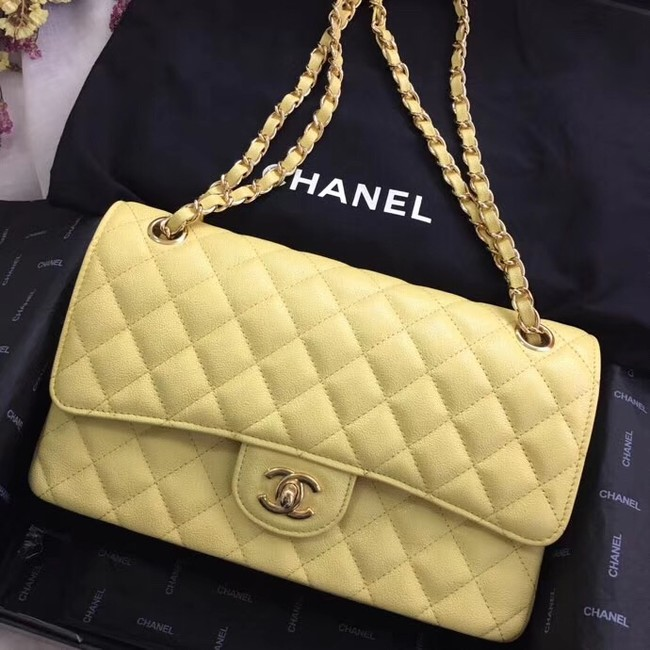 Chanel Calfskin & Gold-Tone Metal A01112 yellow
