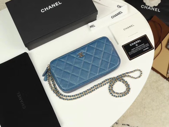 Chanel Calfskin & Gold-Tone Metal A82527 blue