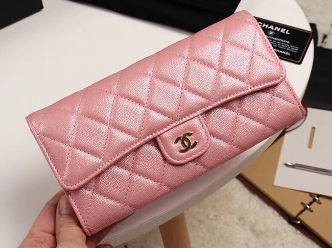 Chanel Calfskin Leather & Gold-Tone Metal A80758 pink