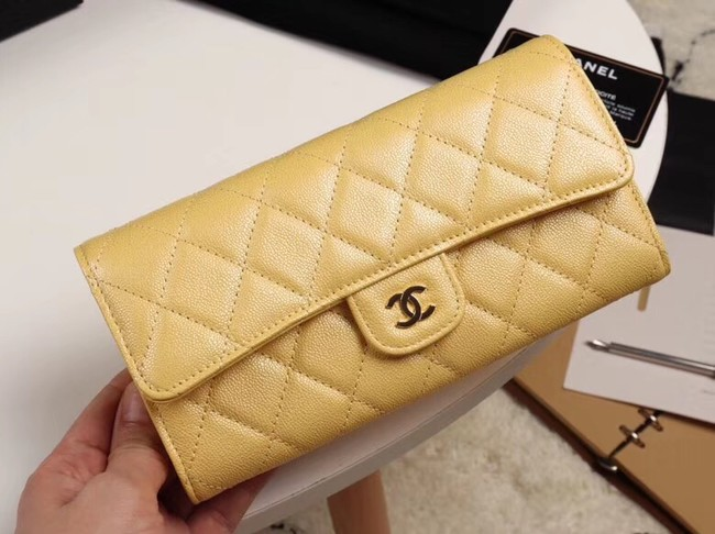 Chanel Calfskin Leather & Gold-Tone Metal A80758 yellow