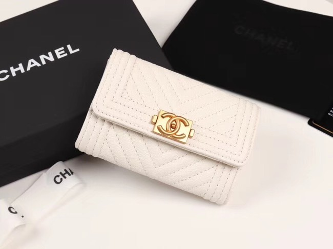Chanel Calfskin Leather Card packet & Gold-Tone Metal A80603 white