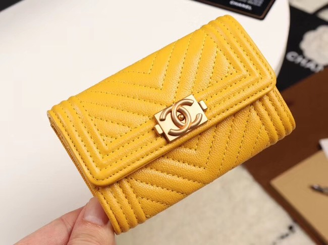 Chanel Calfskin Leather Card packet & Gold-Tone Metal A80603 yellow