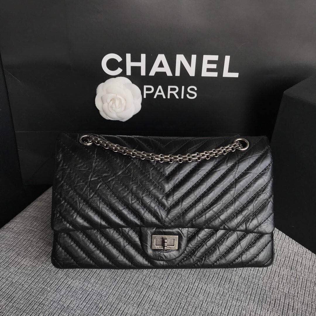 Chanel Flap Original Cowhide Leather 30225 black Silver chain