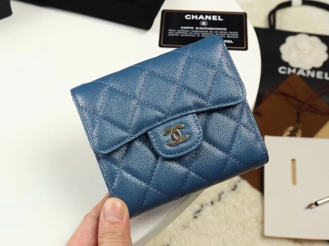 Chanel Calfskin Leather wallet & Gold-Tone Metal A82288 blue