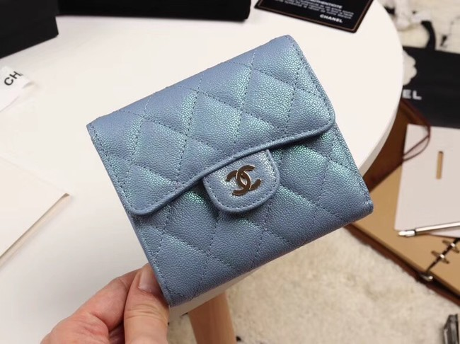 Chanel Calfskin Leather wallet & Gold-Tone Metal A82288 light blue