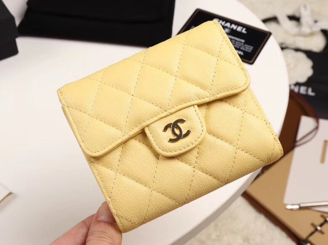 Chanel Calfskin Leather wallet & Gold-Tone Metal A82288 yellow