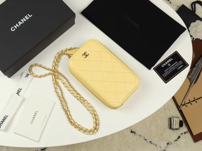 Chanel Grained Calfskin & Gold-Tone Metal A70655 yellow