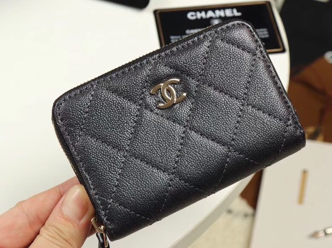 Chanel classic card holder Grained Calfskin & Gold-Tone Metal A69271 black