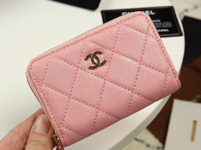 Chanel classic card holder Grained Calfskin & Gold-Tone Metal A69271 pink