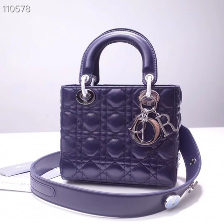Dior lucky badges Original sheepskin Tote Bag A88035 dark blue