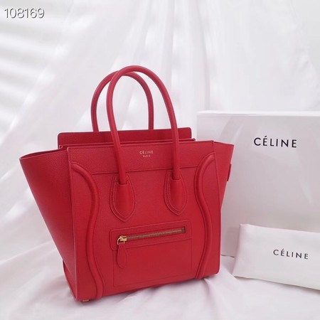 CELINE MICRO LUGGAGE HANDBAG IN LAMINATED LAMBSKIN 167793-10