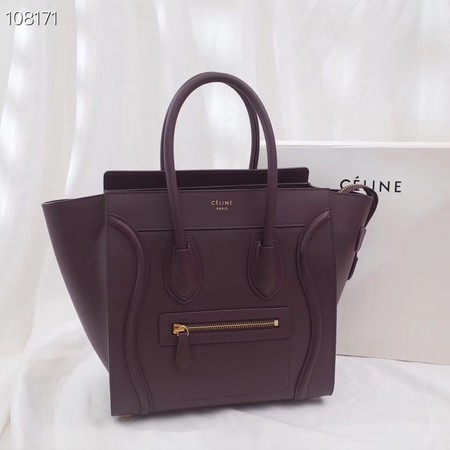 CELINE MICRO LUGGAGE HANDBAG IN LAMINATED LAMBSKIN 167793-9