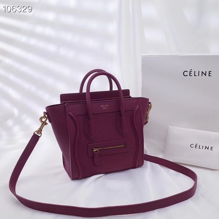CELINE NANO LUGGAGE BAG IN LAMINATED LAMBSKIN 189244-18