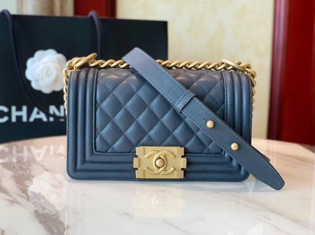 Boy Chanel Flap Shoulder Bag Leather A67085 blue