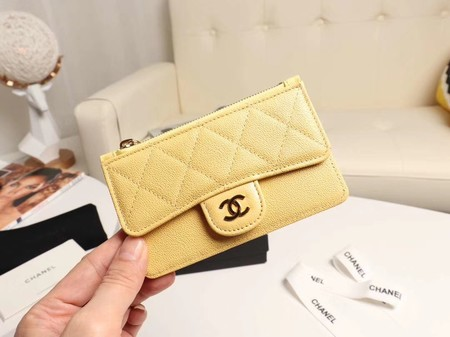 Chanel classic card holder AP0374 yellow