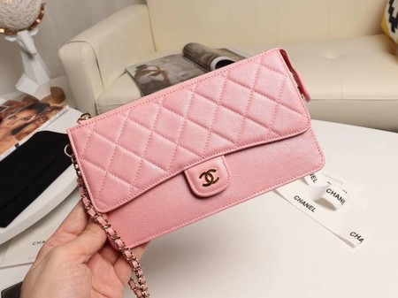 Chanel classic pouch with handle Lambskin & Gold-Tone Metal AP0364 pink