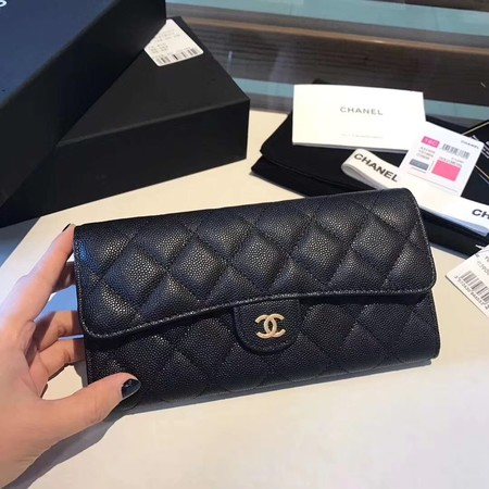 Chanel long flap wallet A80759 black
