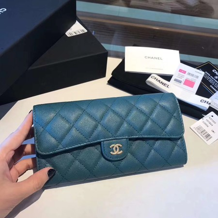 Chanel long flap wallet A80759 blue