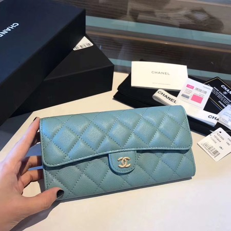 Chanel long flap wallet A80759 sky blue