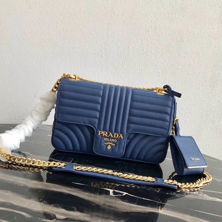 Prada Diagramme medium leather bag 1BD108 blue