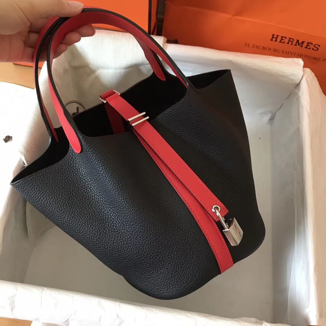 Hermes Picotin Lock PM Bags Original Leather H8688 black&red