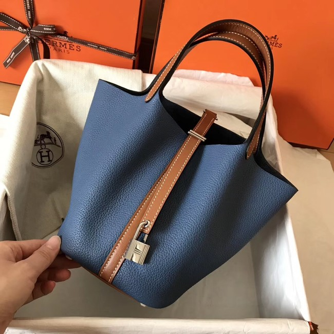 Hermes Picotin Lock PM Bags Original Leather H8688 blue&brown