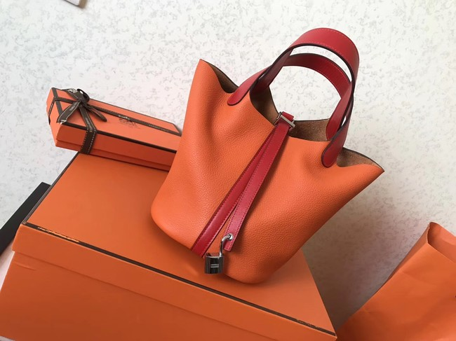 Hermes Picotin Lock PM Bags Original Leather H8688 orange&red