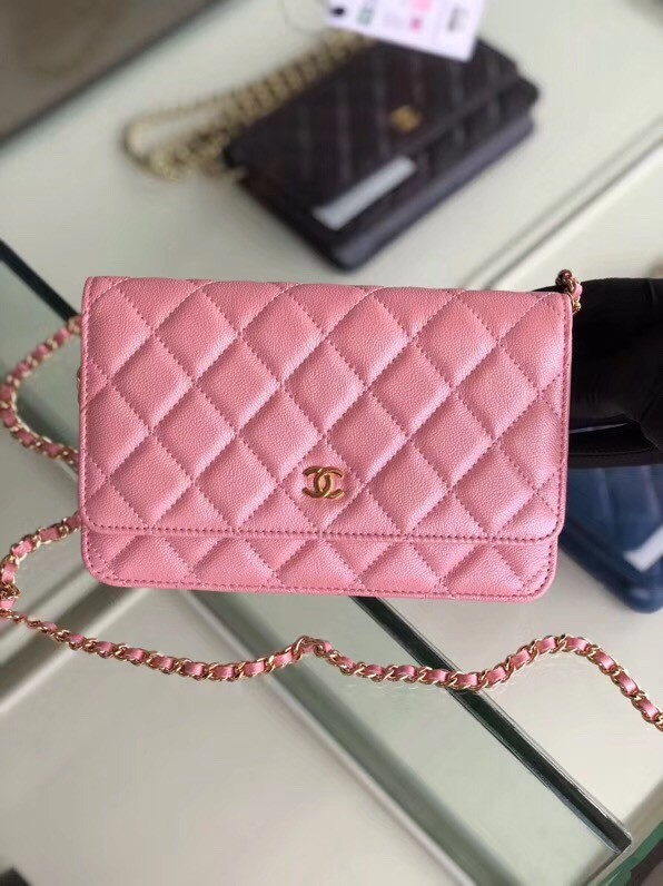 Chanel classic wallet on chain Grained Calfskin & gold-Tone Metal 33814 Pearlescent Pink