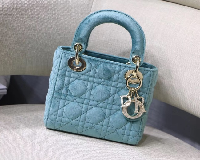 MINI LADY DIOR Velvet BAG M424 light blue