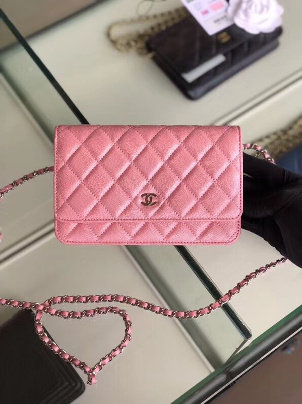 Chanel classic wallet on chain Grained Calfskin & Silver-Tone Metal 33814 Pearlescent Pink