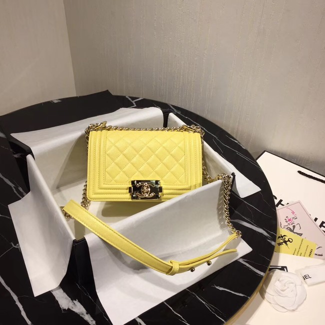 Boy Chanel Flap Shoulder Bag Original Leather Yellow A67085 Gold