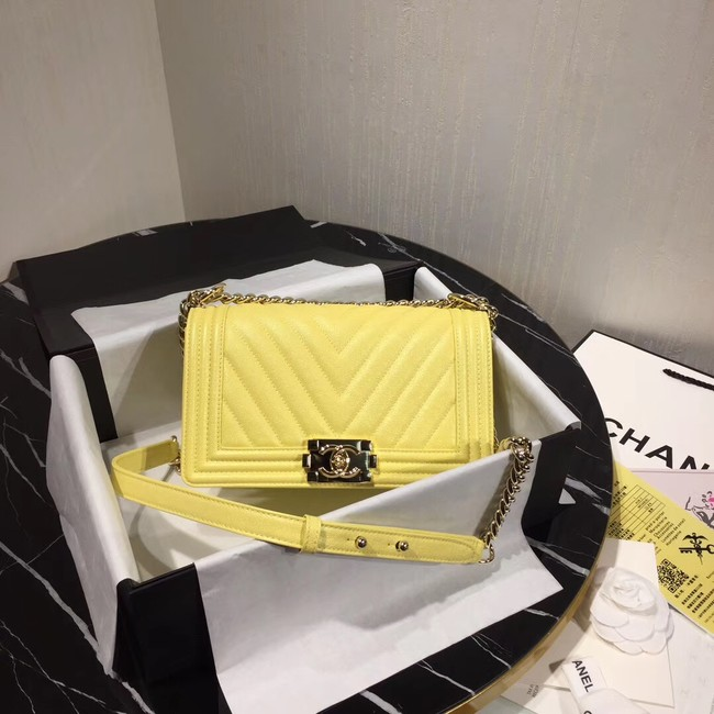 Chanel Le Boy Flap Shoulder Bag Original Leather Yellow V67086 Gold
