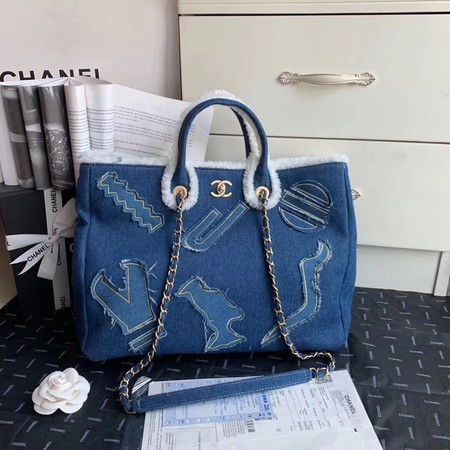 Chanel Tote Bag Blue 63596 Gold