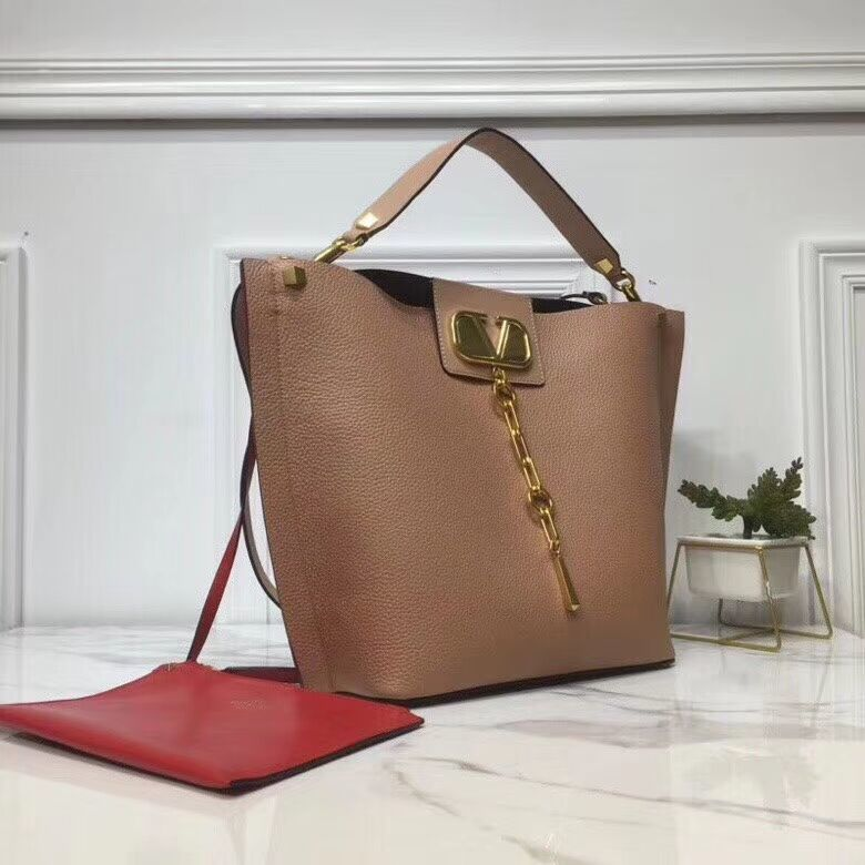 VALENTINO Origianl Leather Bag V0008 Apricot