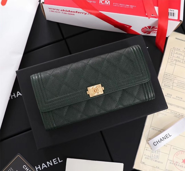 Chanel Calfskin Leather & Gold-Tone Metal A80286 Blackish green
