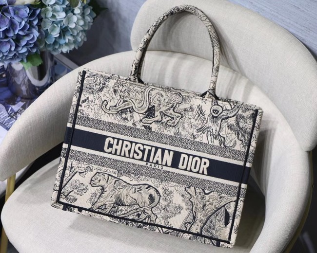 DIOR BOOK TOTE BAG IN EMBROIDERED CANVAS C1287 black