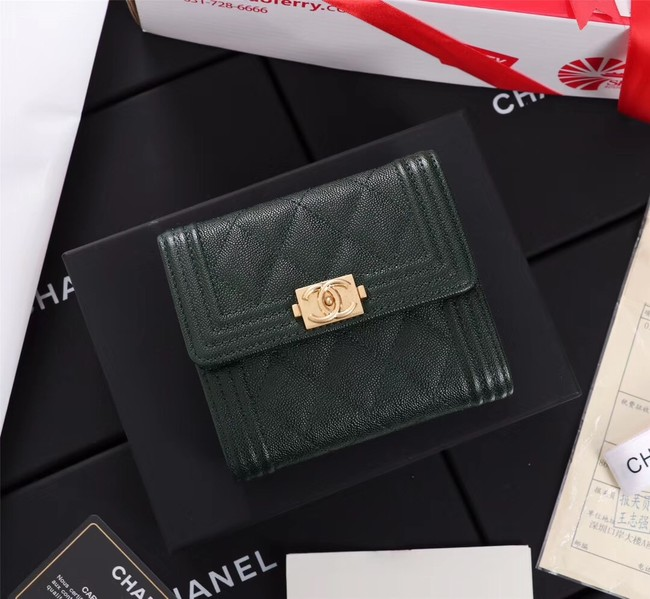 Chanel Calfskin Leather & Gold-Tone Metal A80734 Blackish green