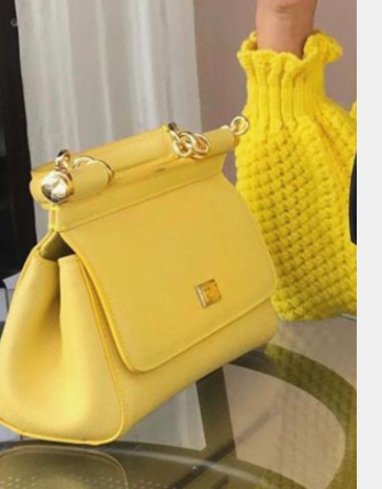 Dolce & Gabbana SICILY Bag Calfskin Leather 4139 yellow
