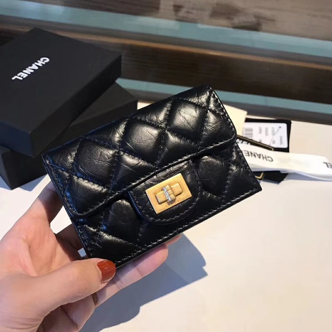 Chanel classic wallet Calfskin & Gold-Tone Metal A80234 black