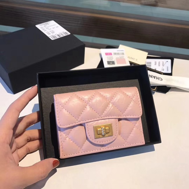 Chanel classic wallet Calfskin & Gold-Tone Metal A80234 pink