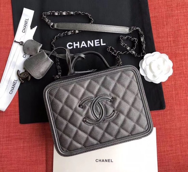 Chanel Original Leather Cosmetic Bag A93343 Black