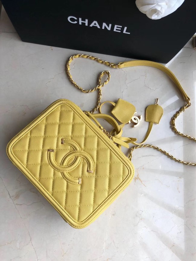 Chanel Original Leather Medium Cosmetic Bag 93443 Yellow