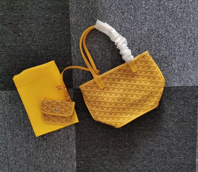 Goyard Calfskin Leather Mini Tote Bag 6782 Yellow
