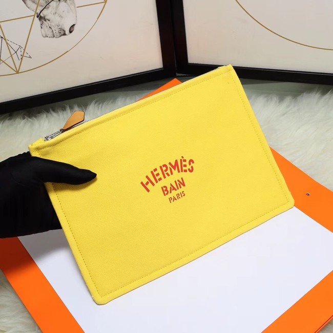 Hermes Cosmetic Bag H3700 Lemon Yellow