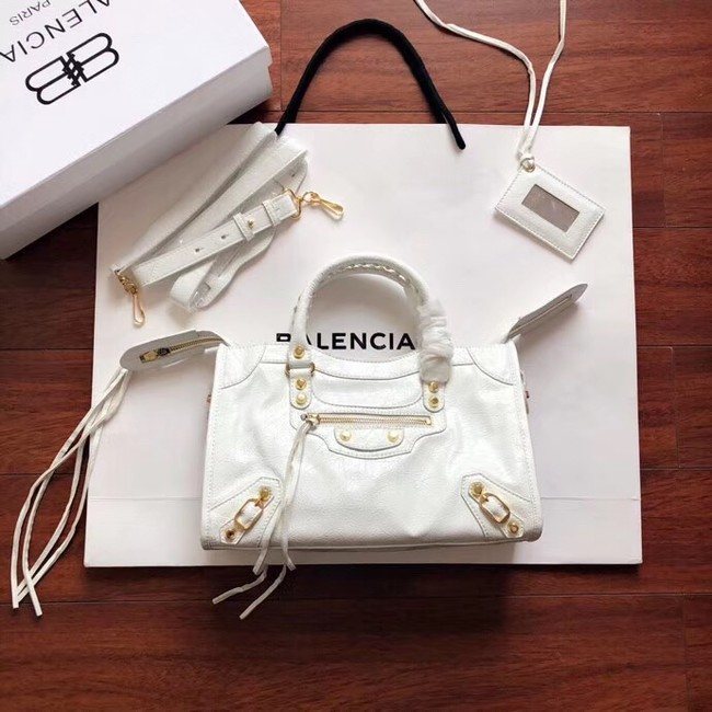 Balenciaga The City Handbag Calf leather 382568 white