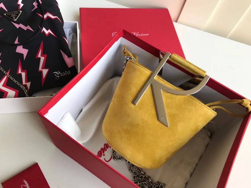 Roger Vivier Bucket Bag Original Leather RV2069 Yellow