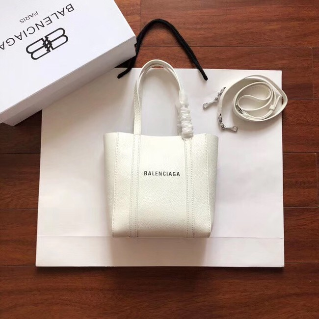 Balenciaga Original Leather Mini Shopper Bag 6696 White